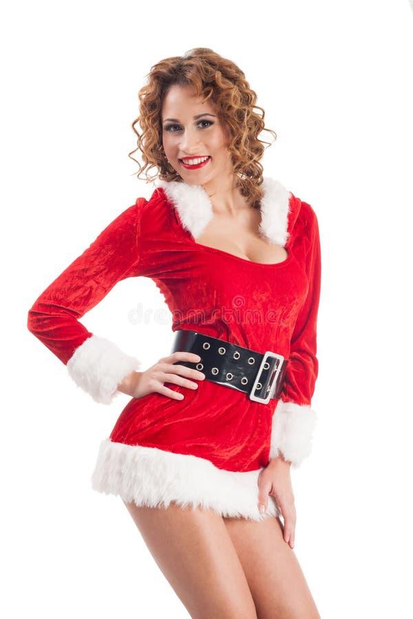 Молодое привлекательное сексуальное Санта изолированное на белой предпосылке стоковая фотография rf
