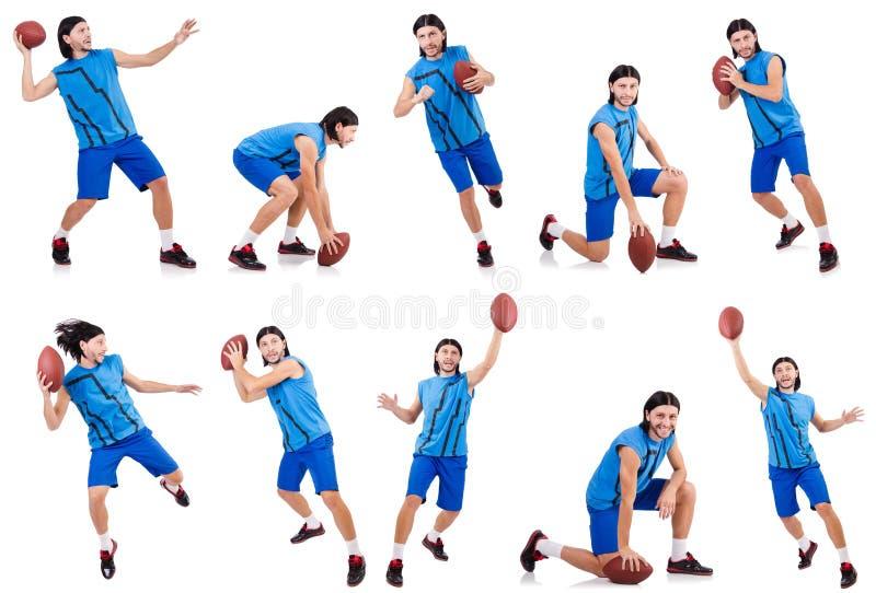 Молодой американский футболист на белизне стоковые изображения rf
