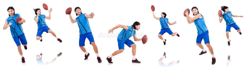 Молодой американский футболист на белизне стоковое фото