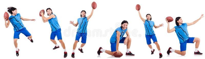 Молодой американский футболист на белизне стоковая фотография