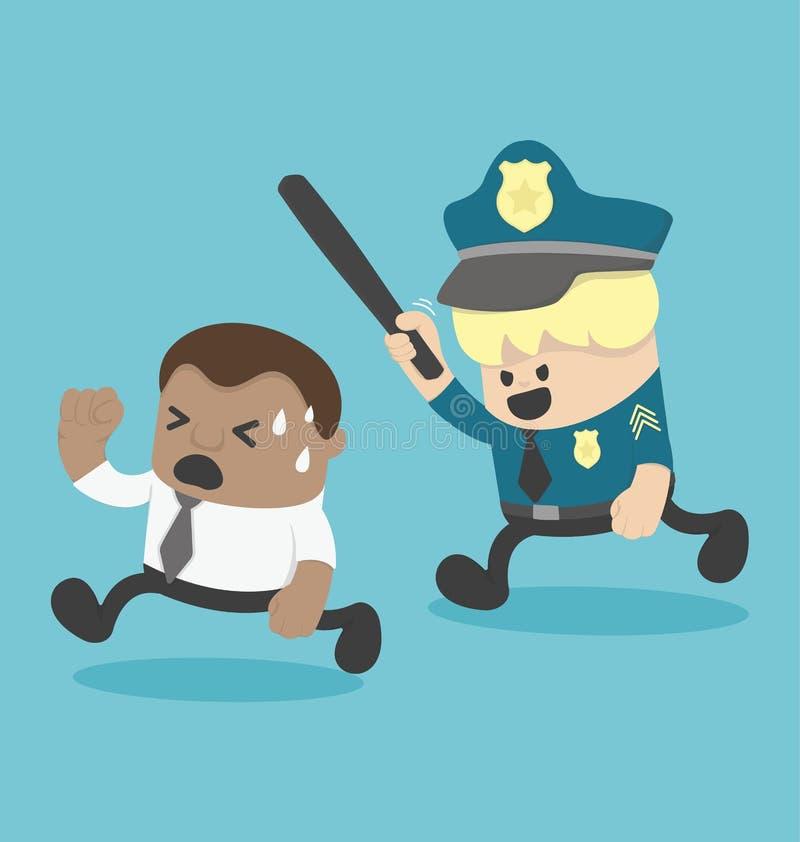Молодой африканский бизнесмен будучи дониманным полицией или обидой иллюстрация штока