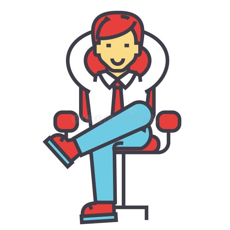 Молодой бизнесмен ослабляя, босс, успешный менеджер сидит, CEO (главный исполнительный директор) в офисе, концепции стула дела иллюстрация вектора