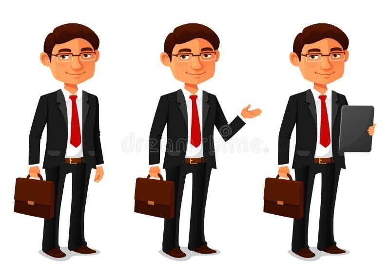 Молодой бизнесмен шаржа в черном костюме бесплатная иллюстрация