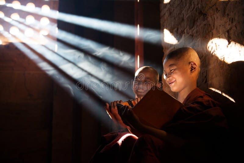 Молодой буддийский читать монахов послушника стоковые изображения rf