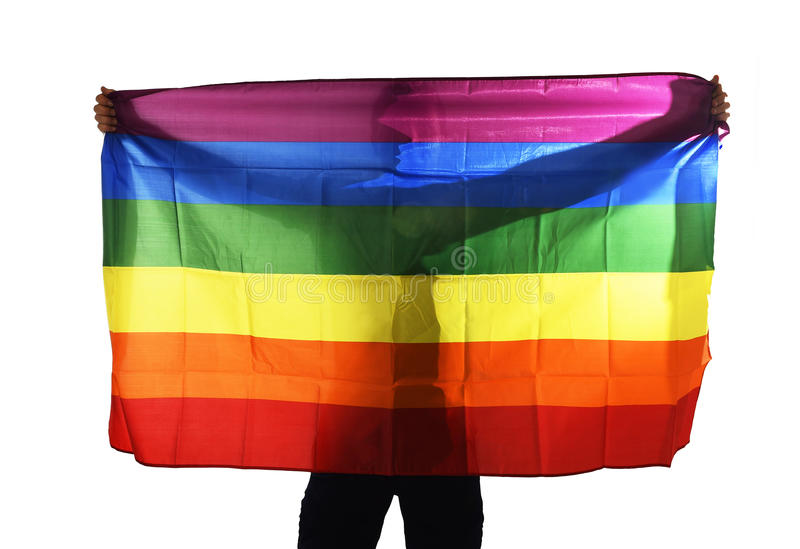 Молодой гордый гомосексуалист распространяя флаг широкой большой гордости гомосексуальный с его тенью за тканью стоковое изображение
