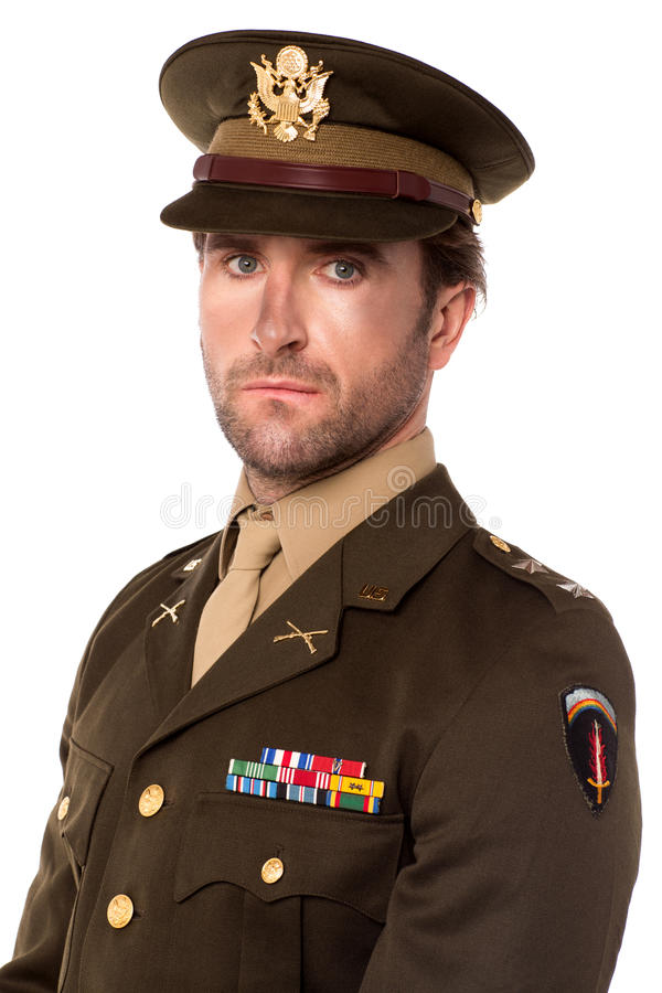 Молодой гордый офицер армии стоковая фотография rf