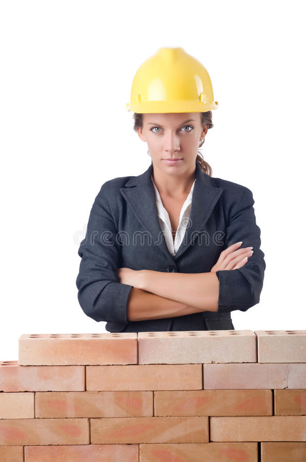 Молодой женский построитель стоковое изображение rf