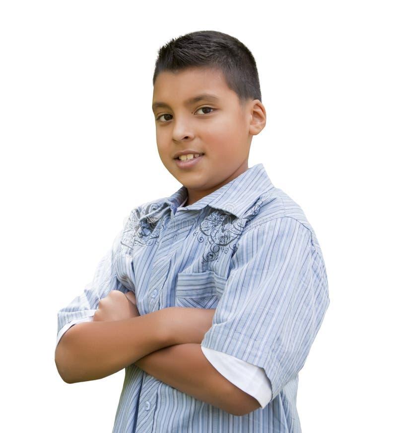 Молодой испанский мальчик на белизне стоковые фотографии rf