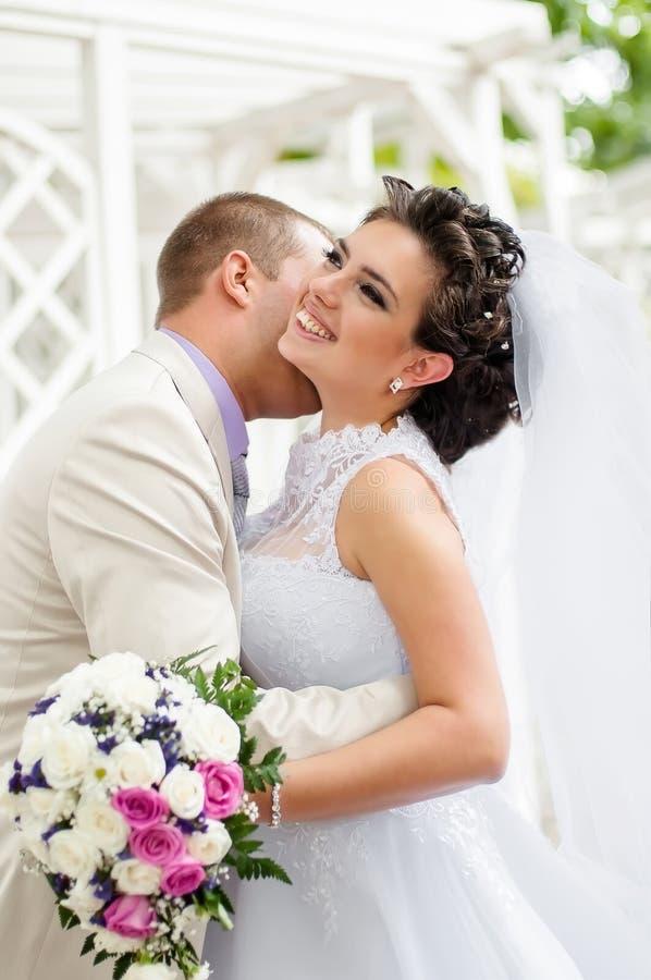 Молодой и красивый жених и невеста стоковое фото rf