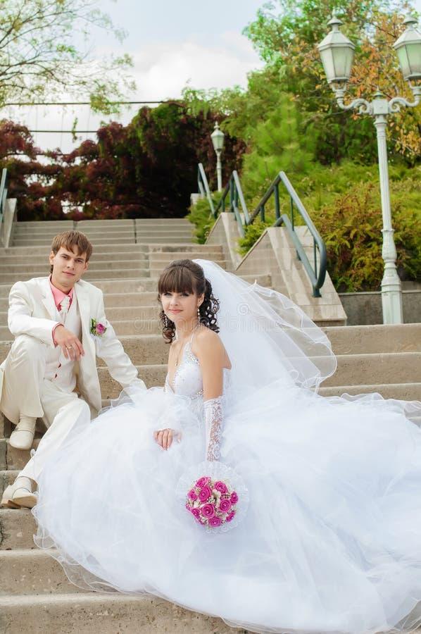 Молодой и красивый жених и невеста стоковые фото