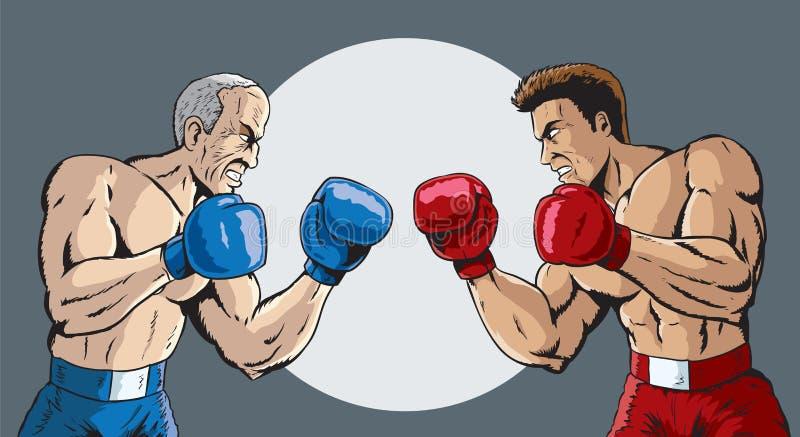 Молодой и старый бой иллюстрация штока