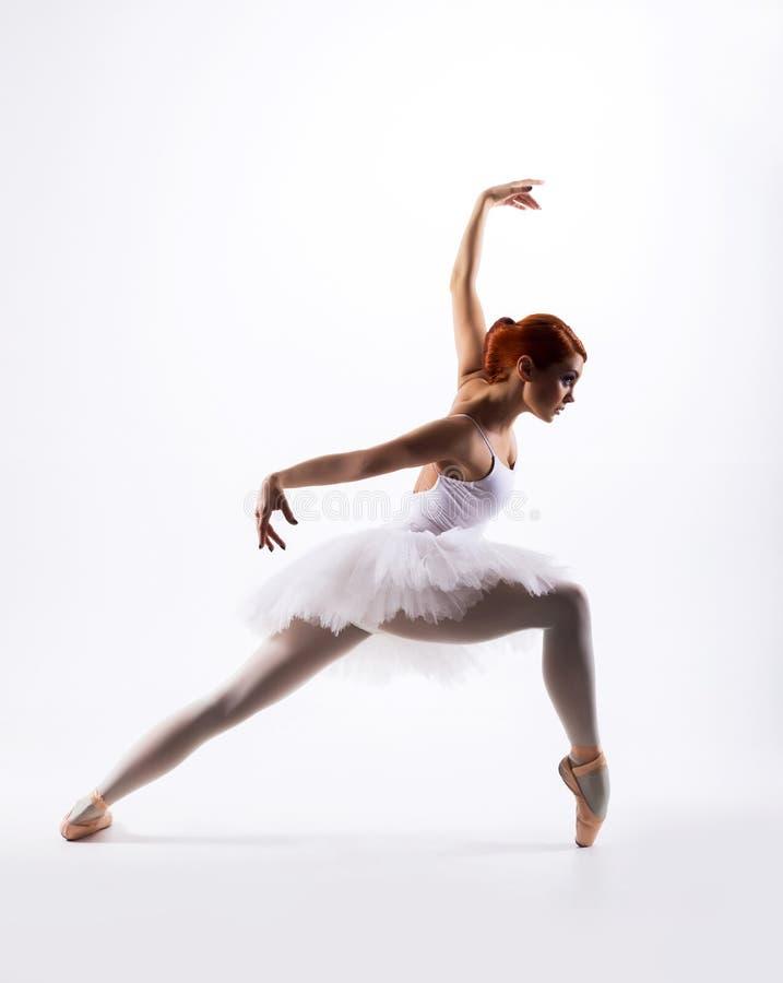 Молодой красивый артист балета на белой предпосылке стоковые изображения