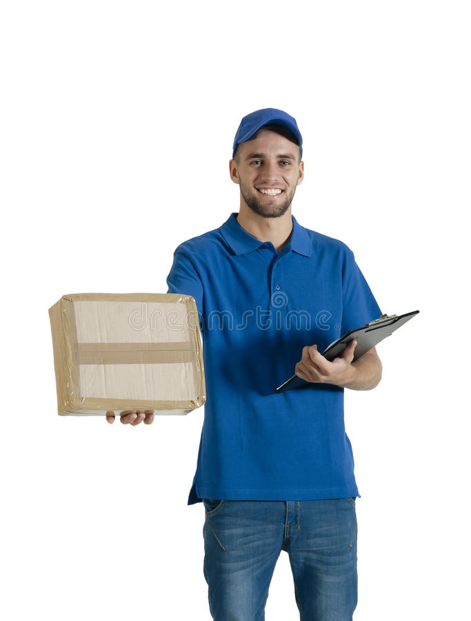 Молодой красивый парень курьера делая поставку пакета стоковая фотография rf