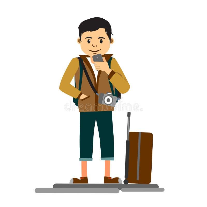 Молодой красивый путешественник человека или туристская плоская иллюстрация бесплатная иллюстрация