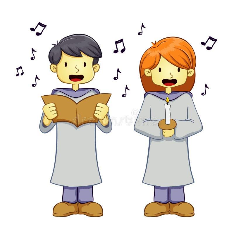 Молодой мальчик и девушка поя песню в форме клироса иллюстрация штока