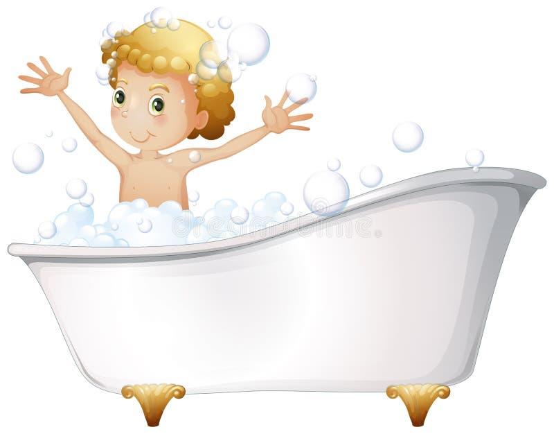 Молодой мальчик принимая ванну на ванну бесплатная иллюстрация