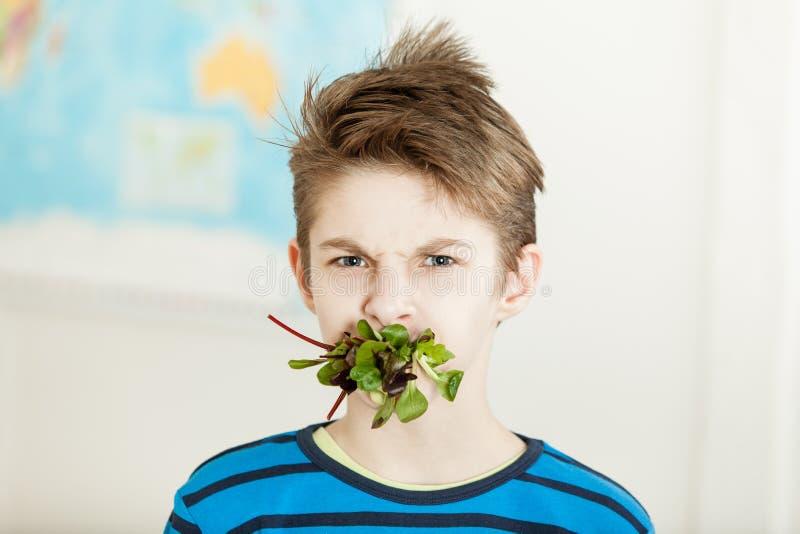 Молодой мальчик при его рот заполненный с шпинатом младенца стоковое изображение rf