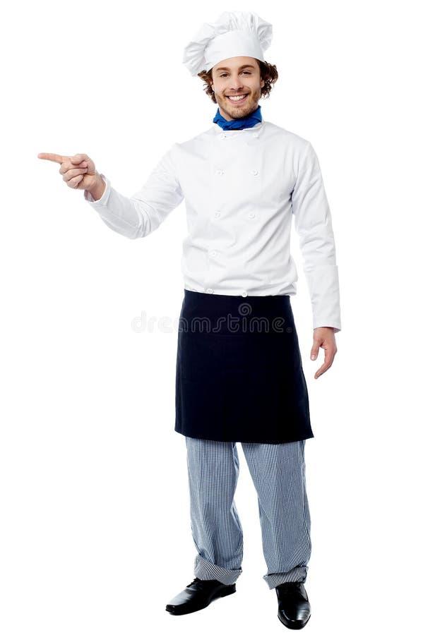 Молодой мужской шеф-повар указывая к продукту стоковая фотография