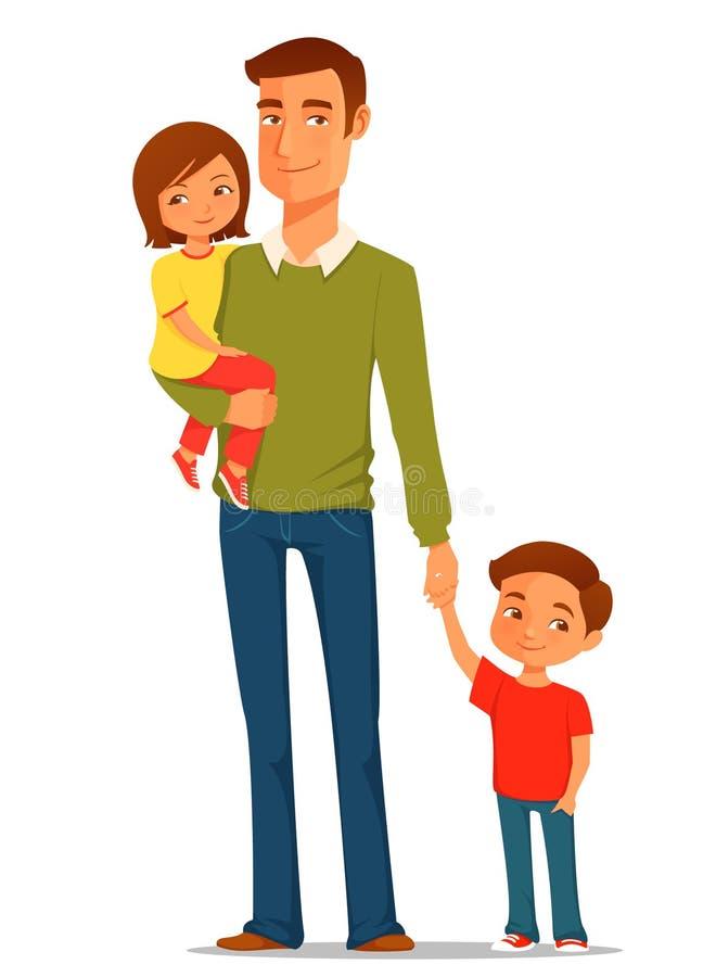 Молодой отец с его милыми детьми бесплатная иллюстрация