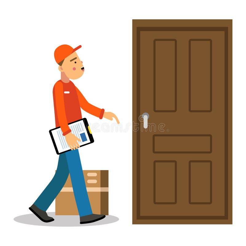 Молодой пакет к двери, курьер поставки работника доставляющего покупки на дом в форме на иллюстрации вектора персонажа из мультфи иллюстрация штока