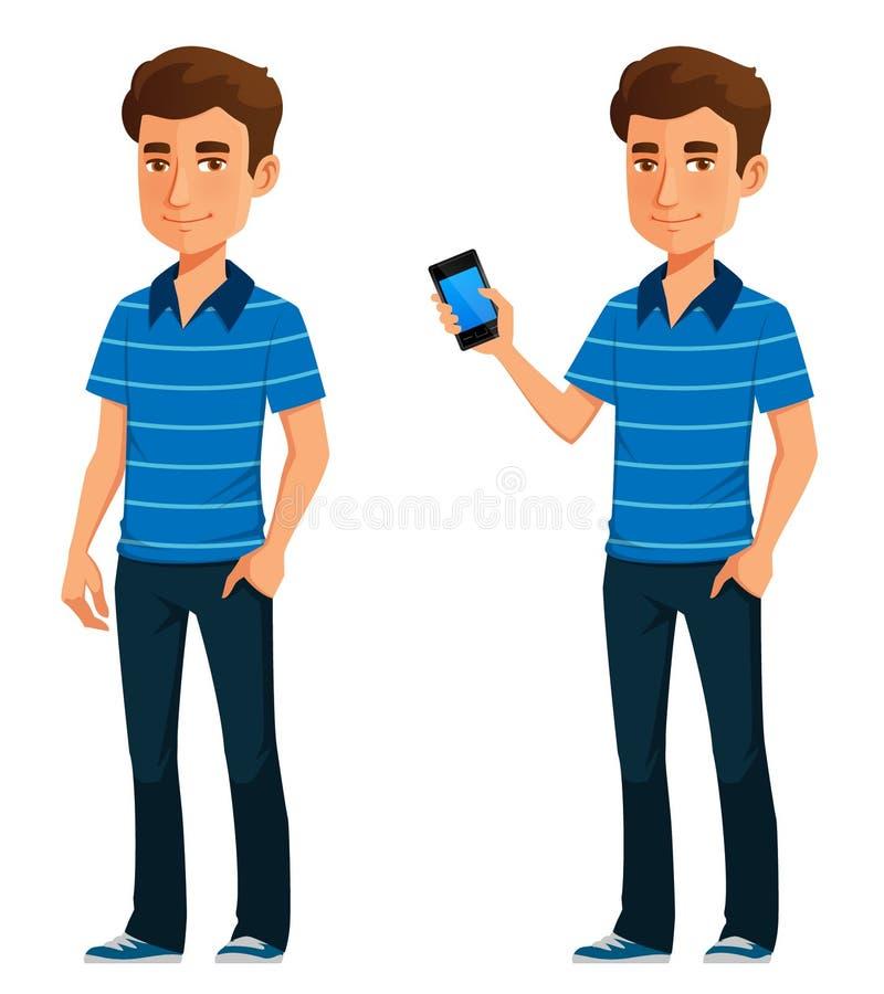 Молодой парень шаржа держа мобильный телефон иллюстрация вектора