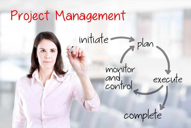 Молодой поток операций руководства проектом сочинительства бизнес-леди Предпосылка офиса