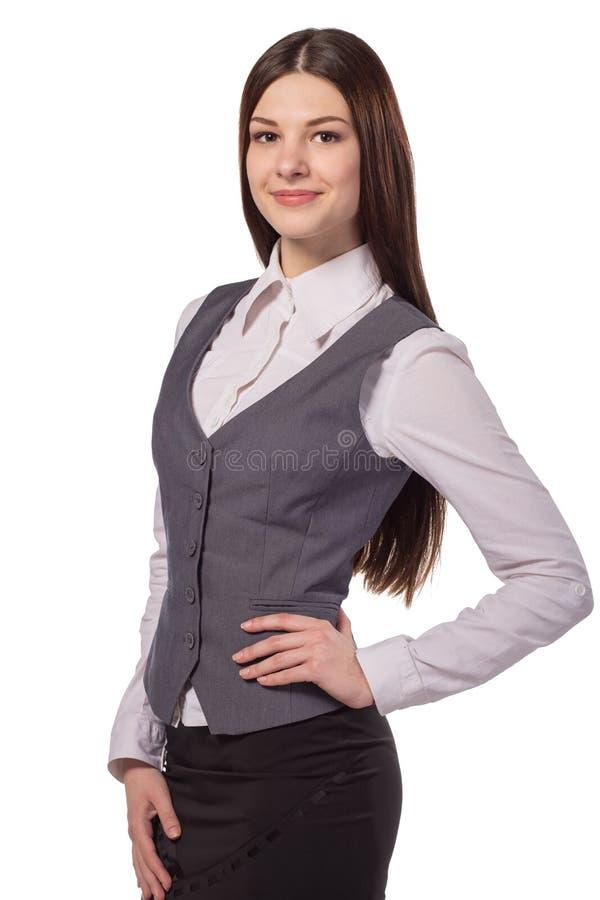 Молодой привлекательный изолированный усмехаться женщины стоковое фото rf