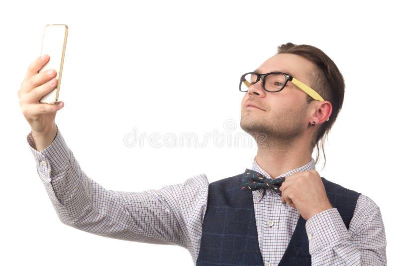 Молодой привлекательный парень делает selfie стоковое фото rf