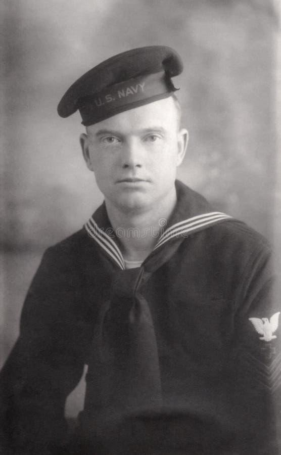 Молодой рекрут военно-морского флота Второй Мировой Войны стоковые изображения rf