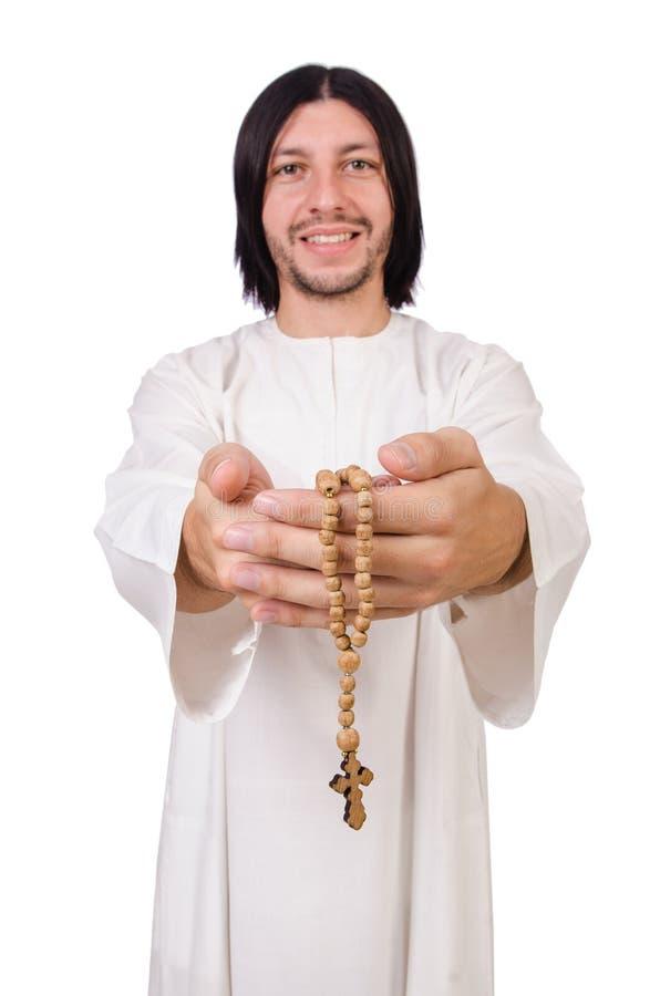 Молодой священник с библией стоковое изображение rf