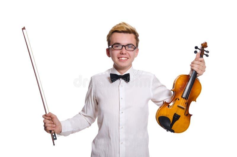Молодой смешной игрок скрипки изолированный на белизне стоковые фотографии rf