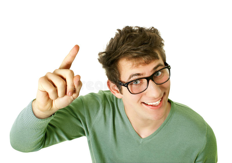 Молодой счастливый человек с хорошей идеей стоковые изображения rf