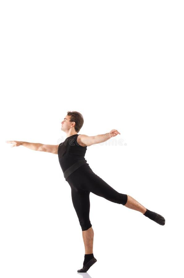 Молодой танцор изолированный на белизне стоковые изображения rf