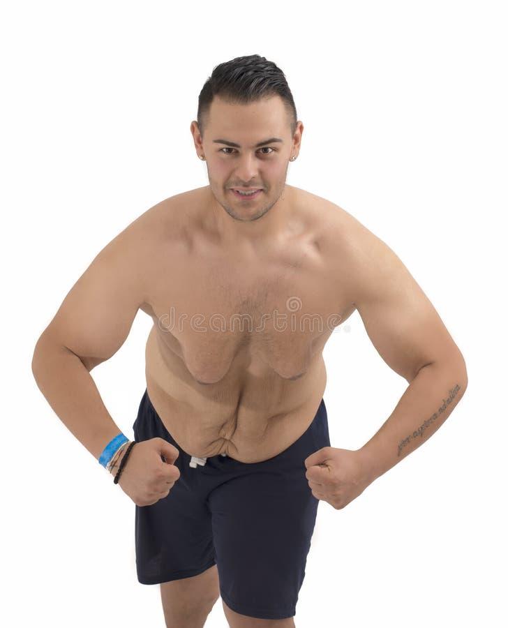 Молодой тучный парень который потерял вес стоковые изображения