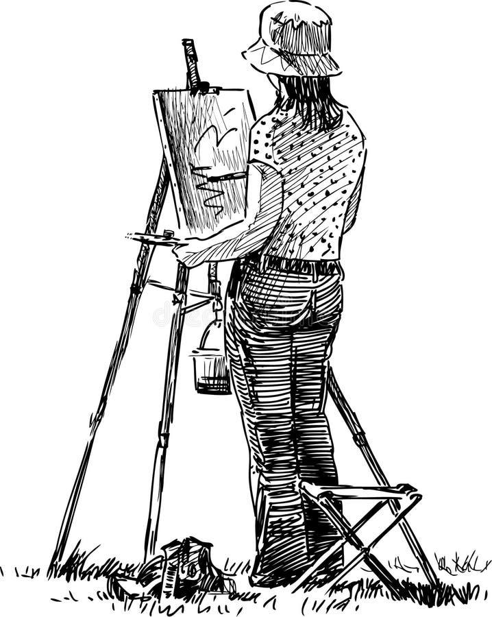 Молодой художник иллюстрация штока
