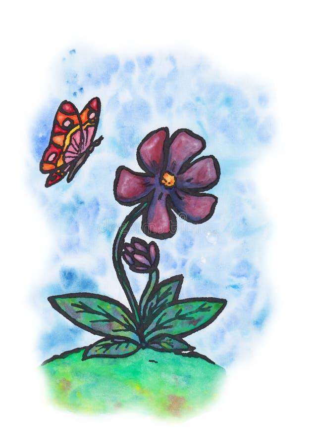 Молодой цветок с бабочкой & x28; 2017& x29; иллюстрация вектора