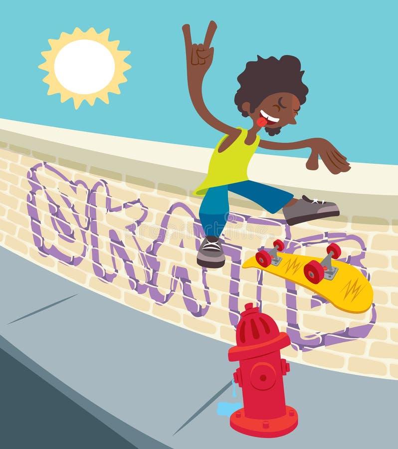 Молодой черный скейтбордист - сальто 360 иллюстрация штока