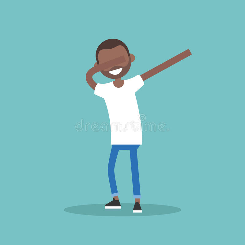 Молодой черный характер делая танцем ЛИМАНДЫ плоский editable вектор il иллюстрация штока