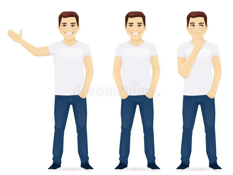 Молодой человек в джинсыах иллюстрация вектора
