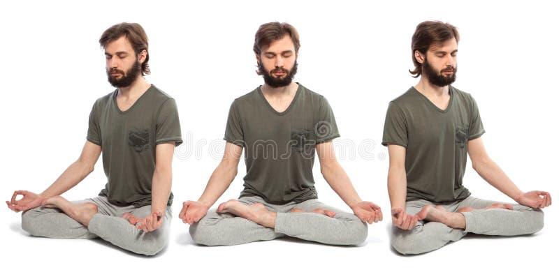 Молодой человек делая yog стоковое изображение rf