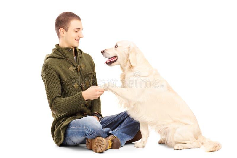Молодой человек играя с собакой retriever стоковое изображение rf