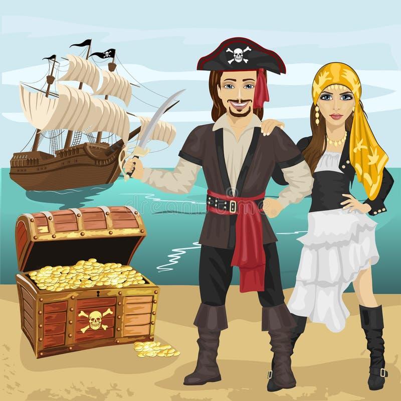 Молодой человек и женщина в пирате костюмируют держать шпагу стоя около открытого сундука с сокровищами на пляже перед пиратским  иллюстрация штока