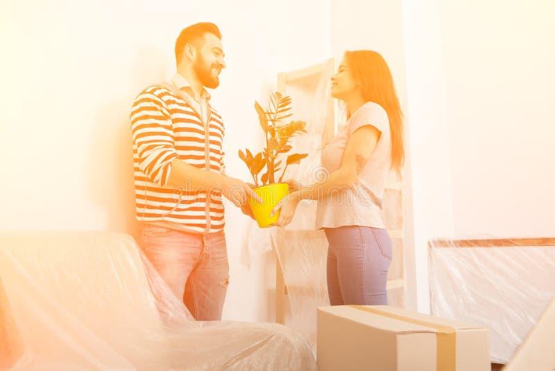 Молодой человек и женщина стоя в живущей комнате после передислоцировать стоковые изображения rf