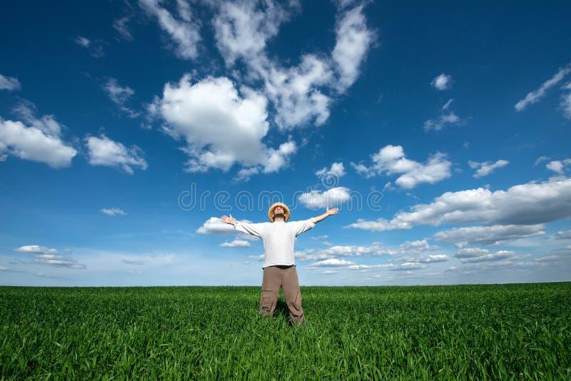Молодой человек на зеленом поле пшеницы стоковое изображение