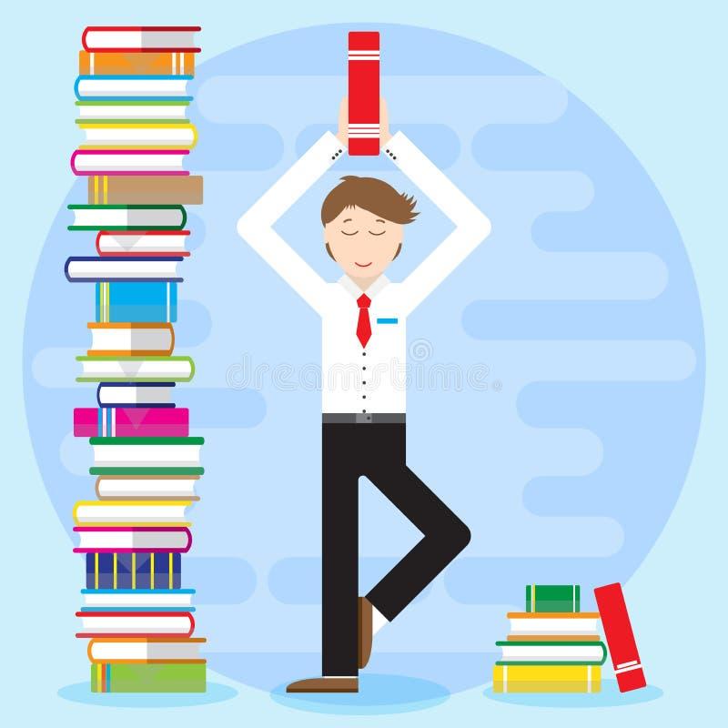 Молодой человек, работник офиса, студент, цены бизнесмена в йоге представляет бесплатная иллюстрация