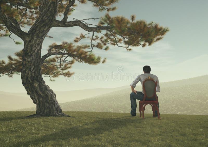 Молодой человек сидит под деревом иллюстрация вектора
