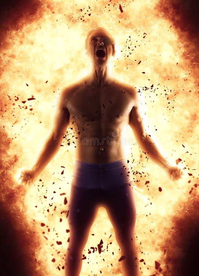 Молодой человек создавая взрыв энергии стоковые фотографии rf