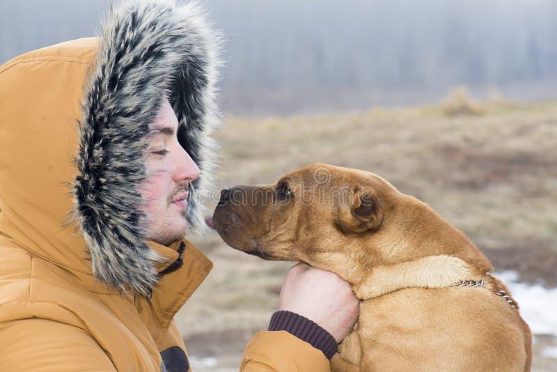 Молодой человек с его собакой стоковое фото