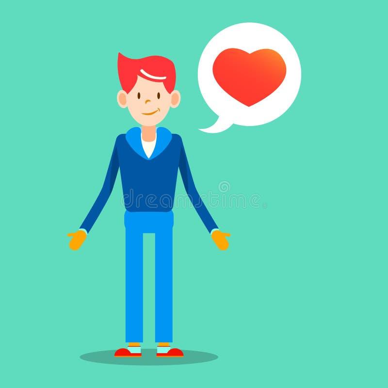 Молодой человек с сообщением влюбленности для беды вектора дизайна дня валентинок иллюстрация штока