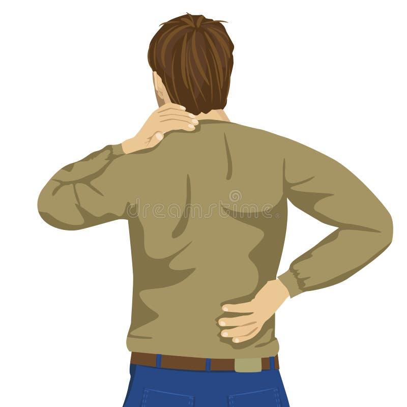 Молодой человек тереть его тягостную заднюю часть Облегчение боли, концепция хиропрактики иллюстрация штока
